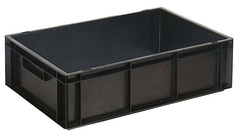 Black ESD (Anti Static) bins with adjustable dividers