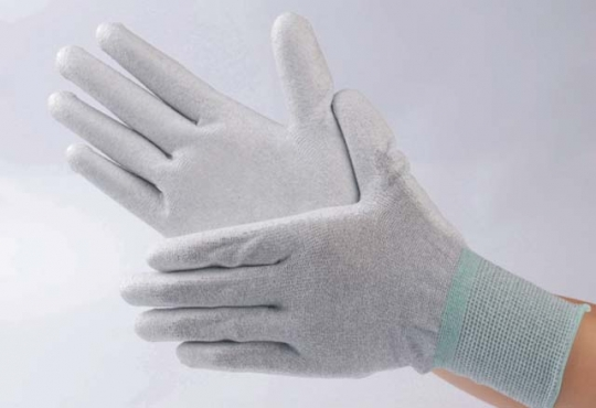 PU coated lint free ESD safe Palm fit dotted gloves