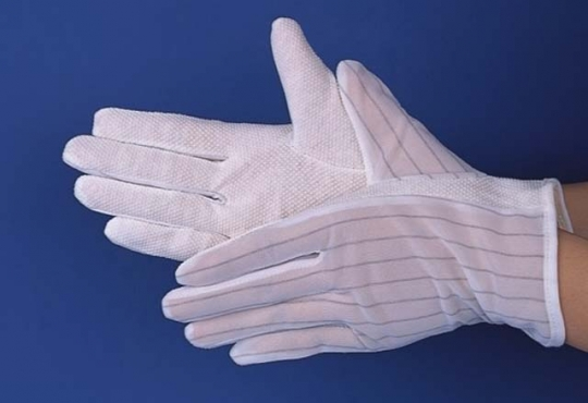 Anti-static (ESD) dotted gloves Inspection Gloves 100% polyester, lint-free, full-fashioned white inspection gloves.