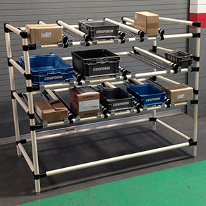Pipe and Joint Flow Rack System (42mm) Lean Manufacturing