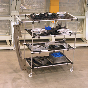 Custom design manufacturing kit carts with single, double and triple bay carriers for efficient handling and transporting